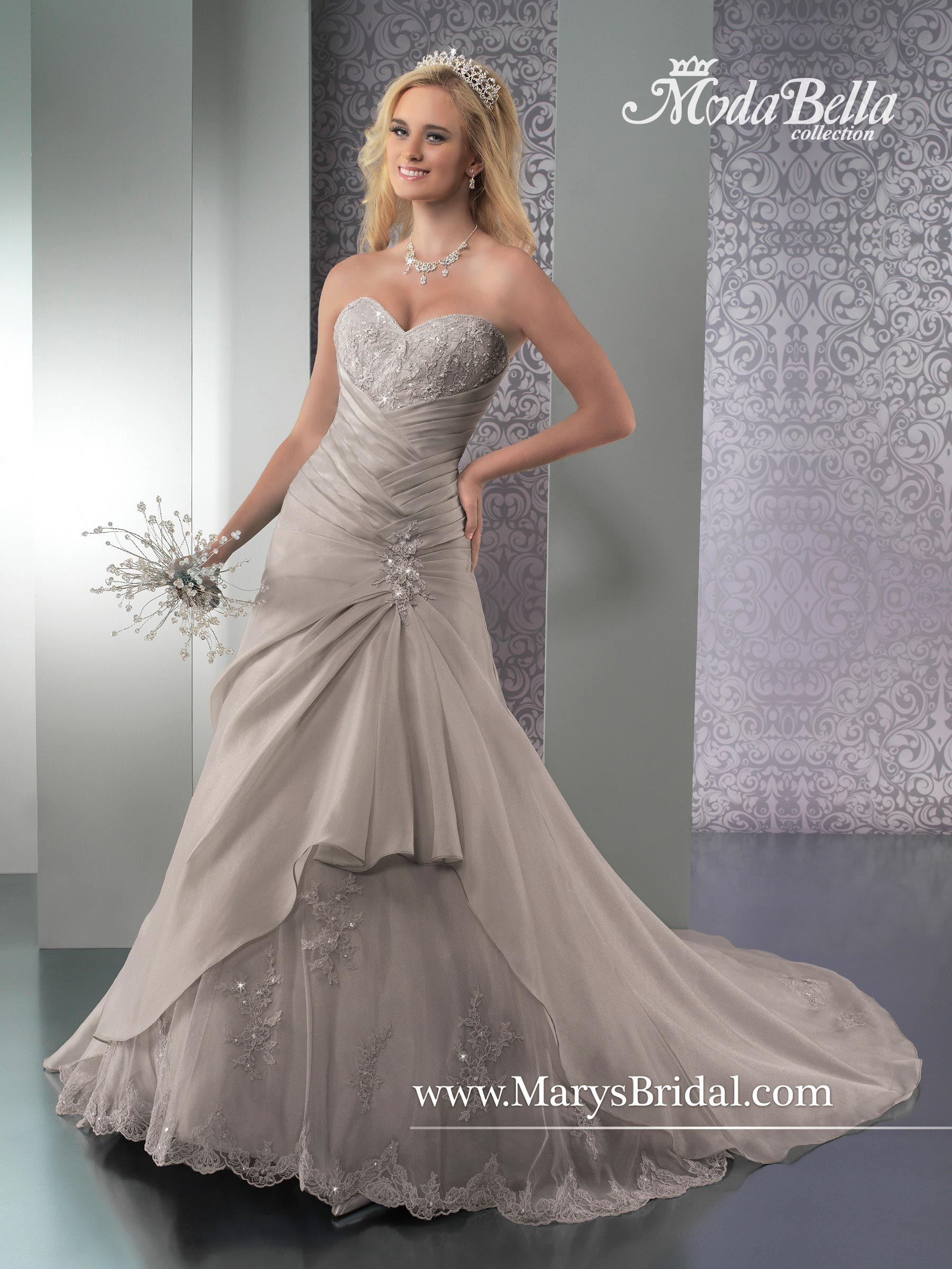 Bridal Dresses Style 3y258 In Ivory White Silver 25th Anniversary Color Color