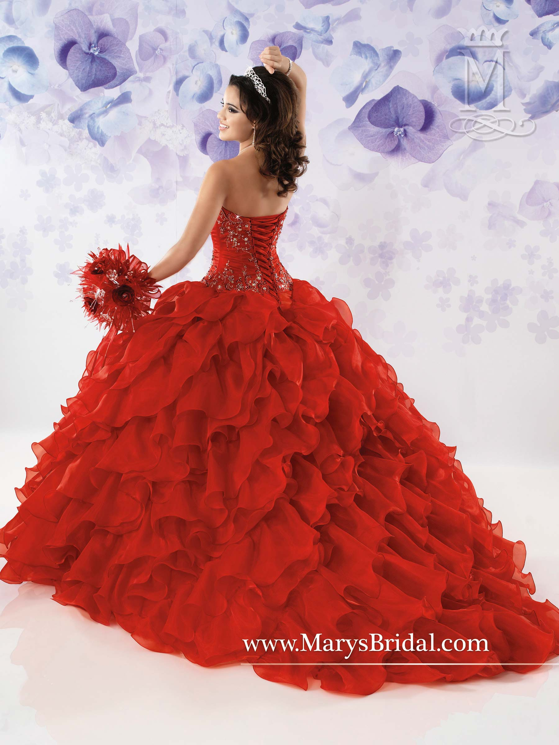 Marys Quinceanera Dresses Style 4114 In Red Multi