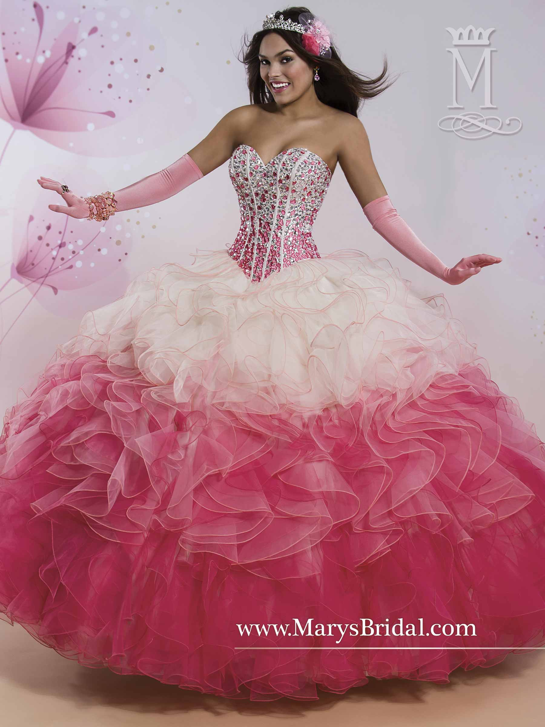 Marys Quinceanera Dresses | Style - 4Q403 in Aqua/Blue or Coral/Rose ...