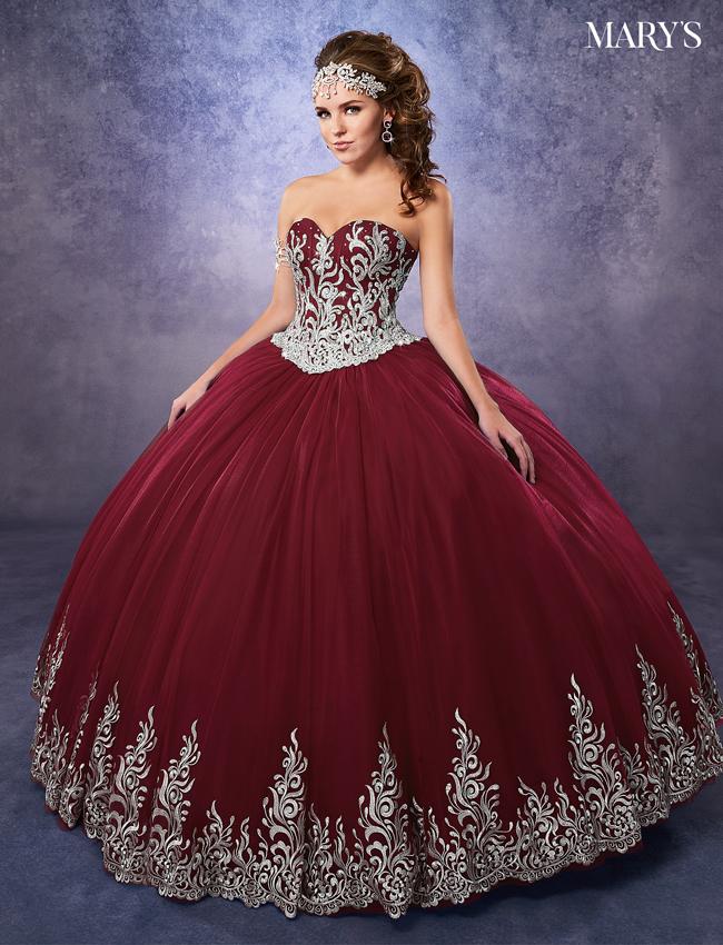 Dark Burgundy Color Marys Quinceanera Dresses - Style - 4Q478