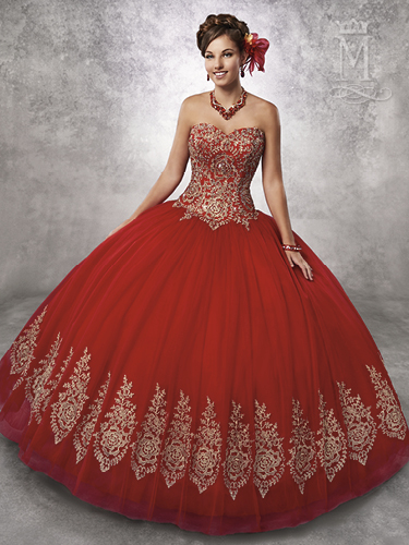 Bright Red Color Marys Quinceanera Dresses - Style - 4Q497