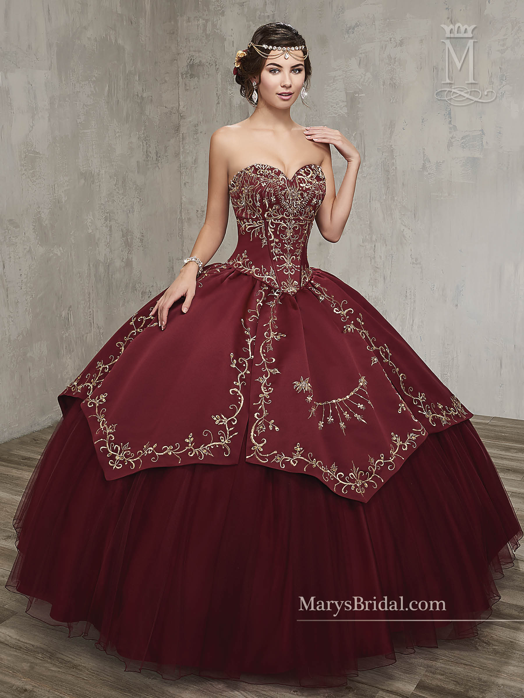 Marys Quinceanera Dresses Style 4q516 In Dark Burgundy Gold