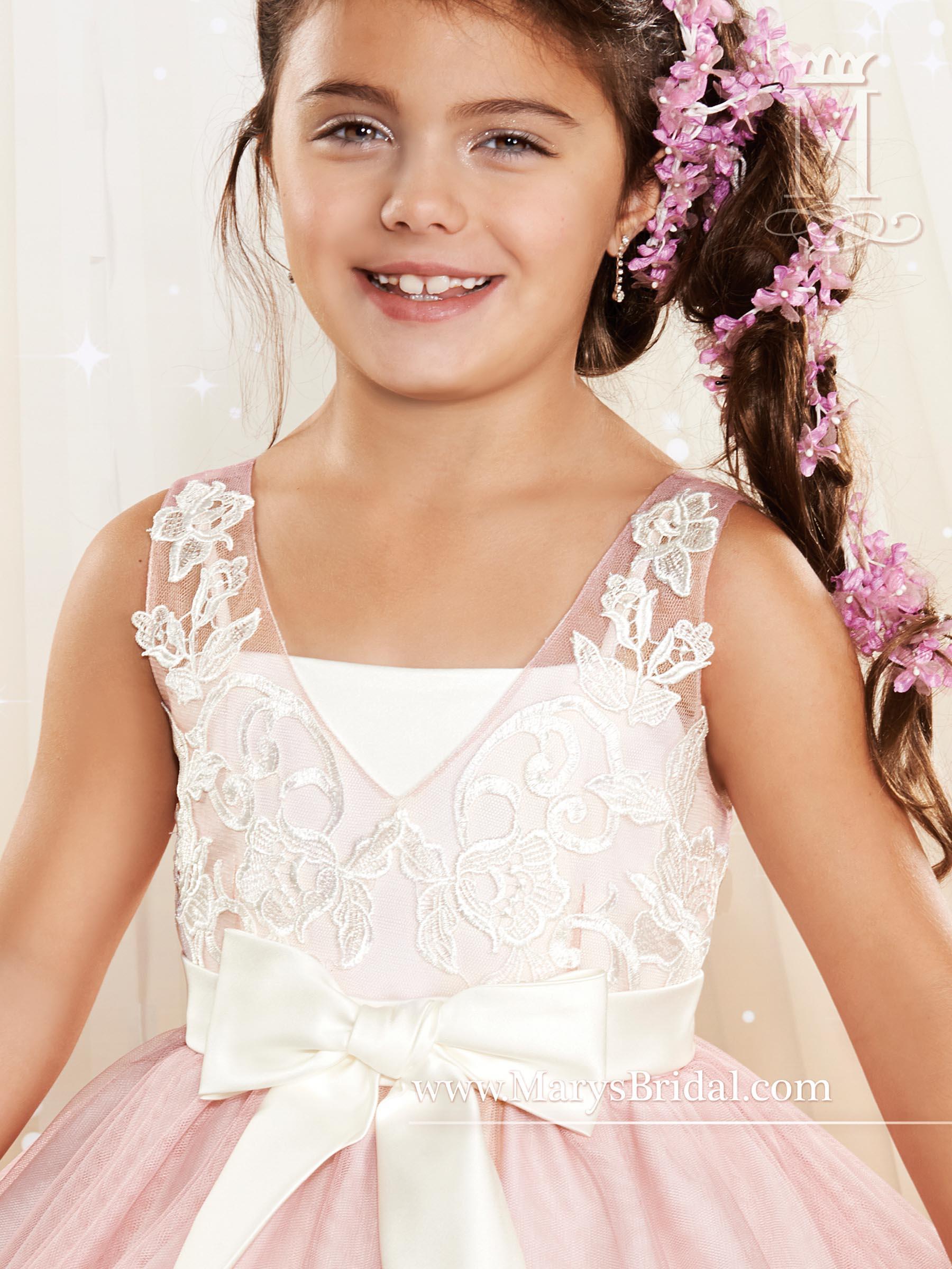 Angel Flower Girl Dresses Style F436 In Dusty Roseivory