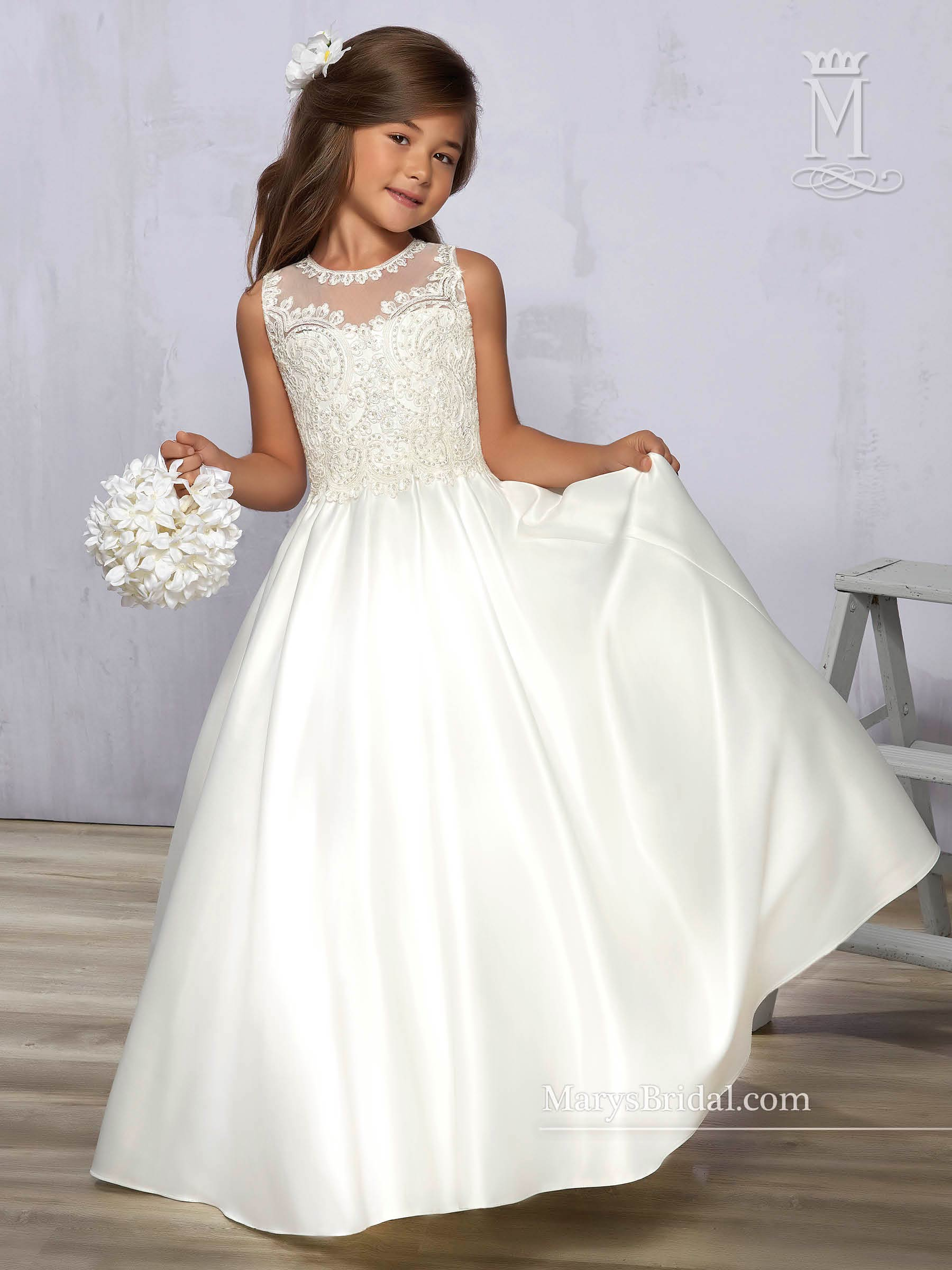 Angel Flower Girl Dresses Style F576 In Ivory White Color
