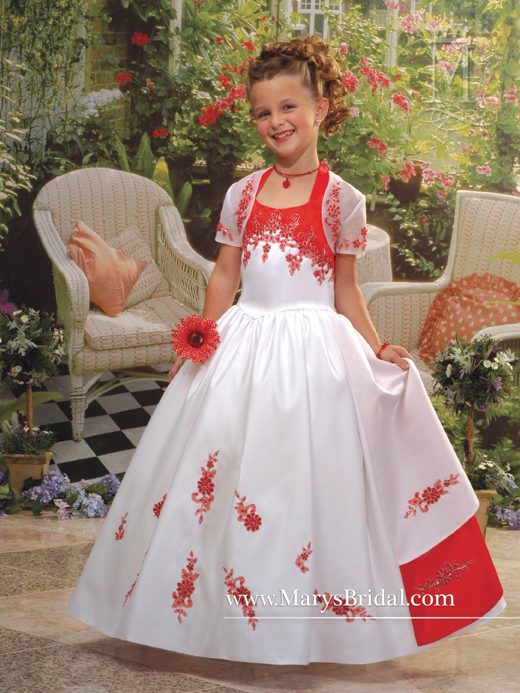 Angel Flower Girl Dresses Style F580 In Whitered Whitepink