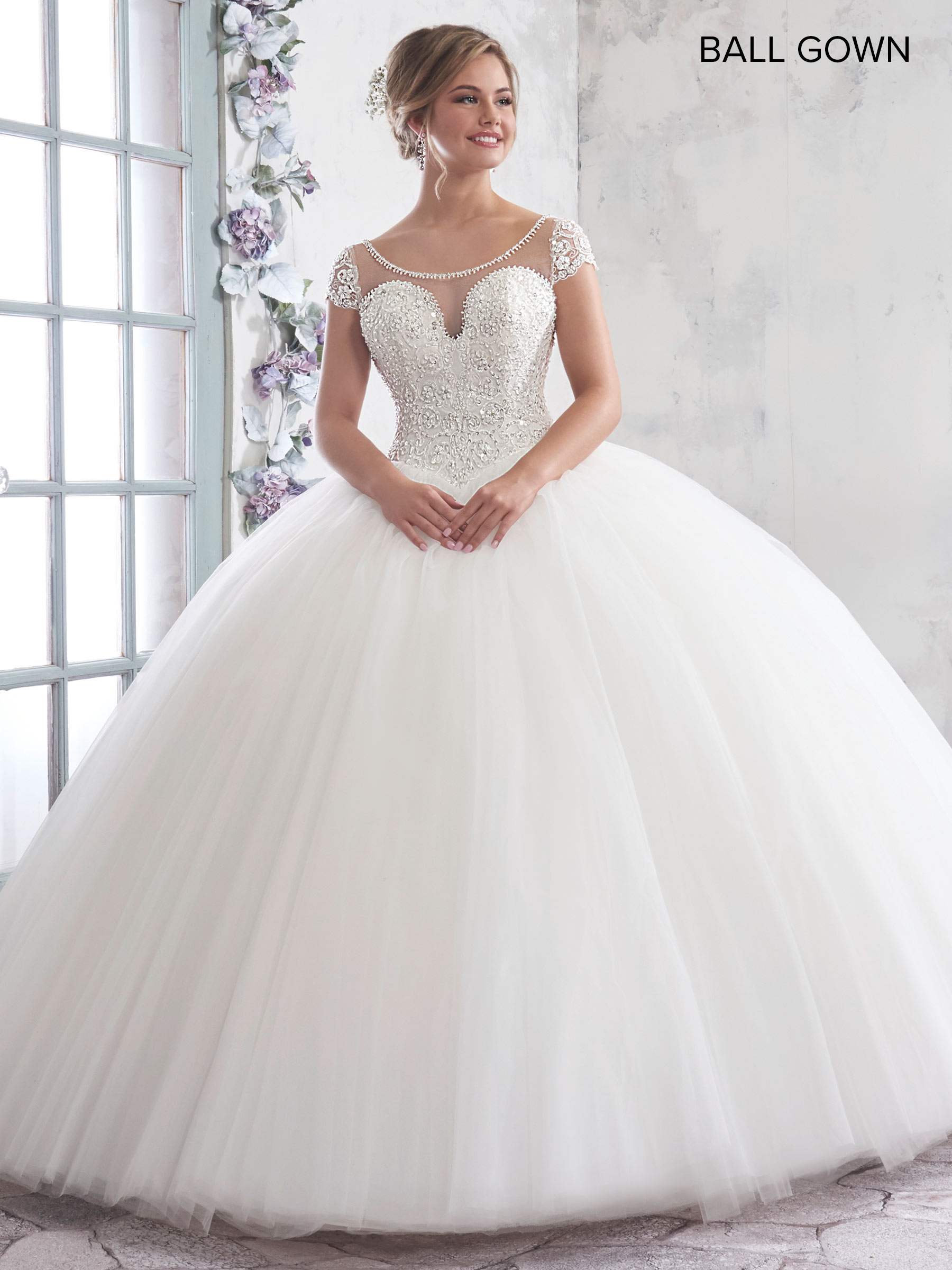 Ball Gown Beaded Appliques Long Sleeve Wedding Dress