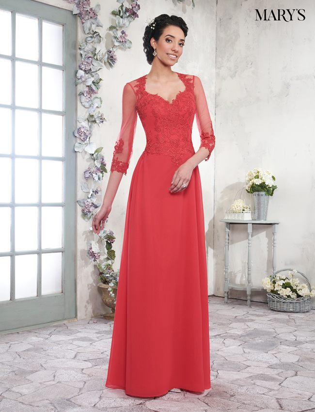 Bright Red Color Mother Of The Bride Dresses - Style - MB8007