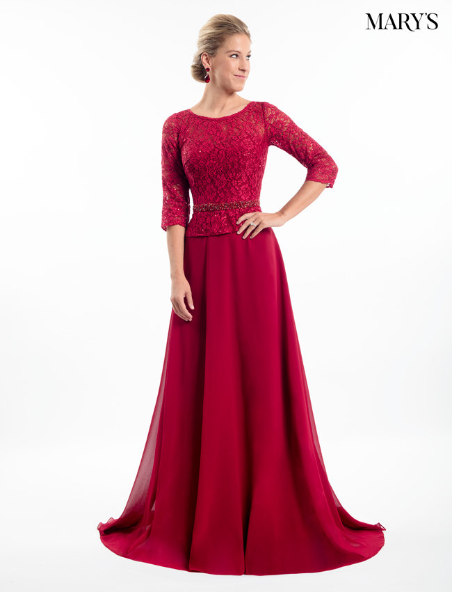Dark Red Color Mother Of The Bride Dresses - Style - MB8009