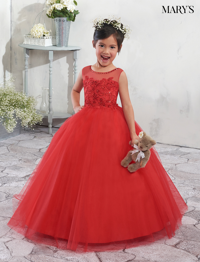 Bright Red Color Angel Flower Girl Dresses - Style - MB9003
