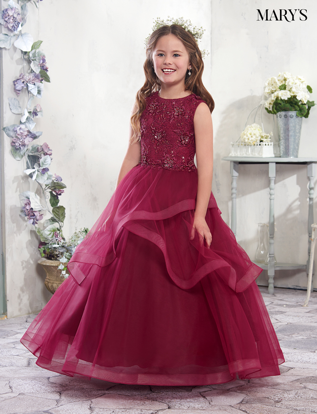 Dark Burgundy Color Angel Flower Girl Dresses - Style - MB9006