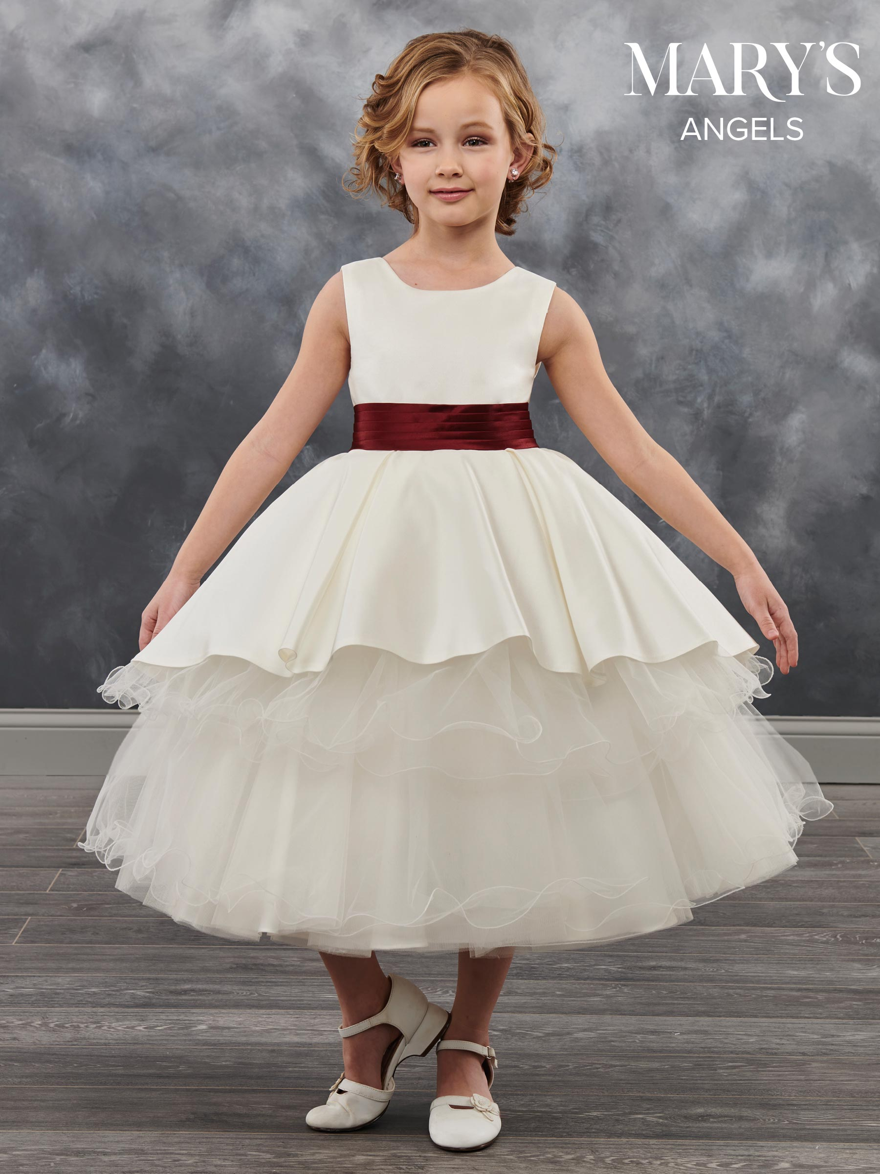 Angel Flower Girl Dresses Style Mb9027 In Ivoryburgundy Ivory