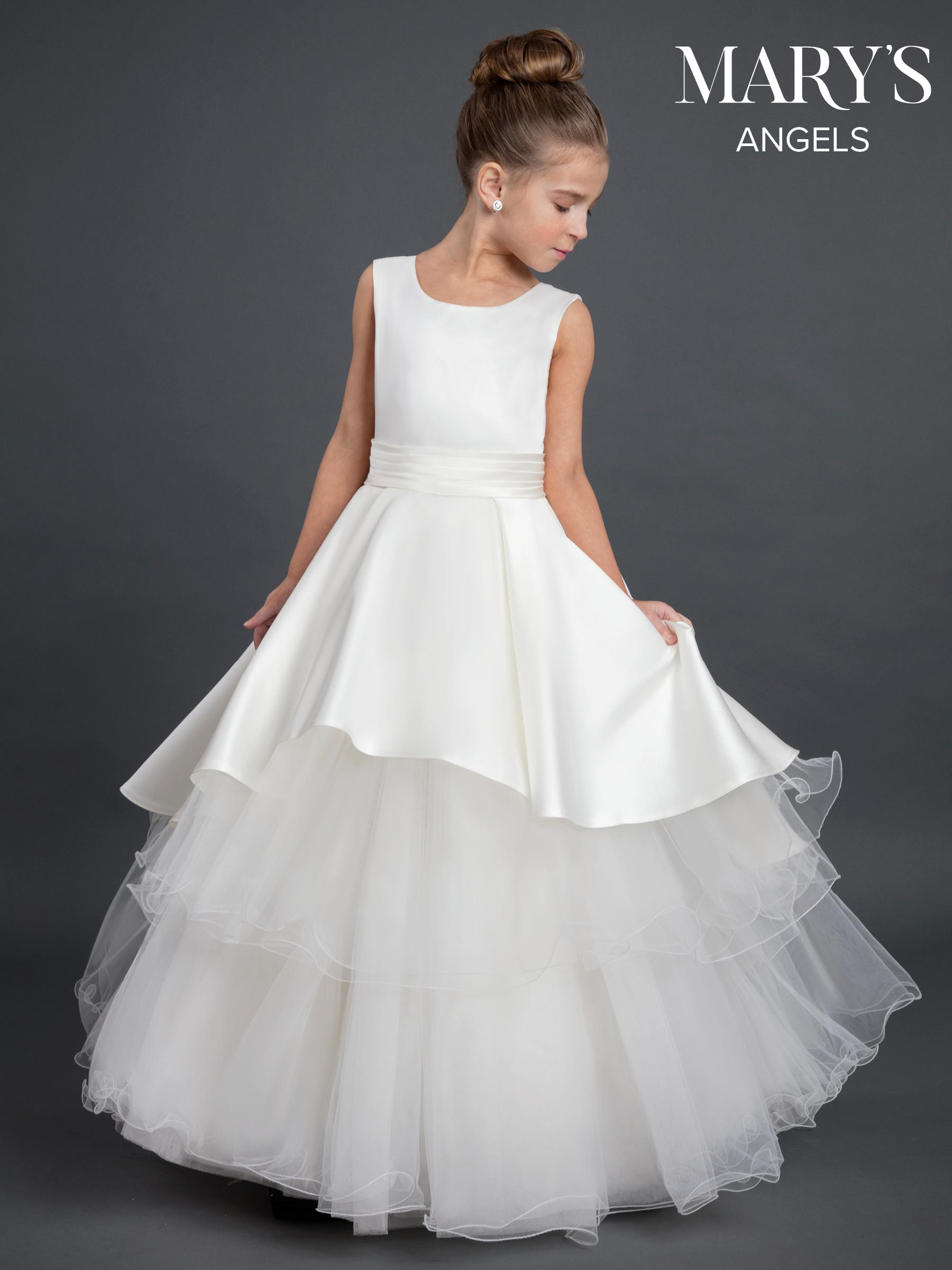 Angel Flower Girl Dresses Style Mb9028 In Ivoryburgundy Ivory
