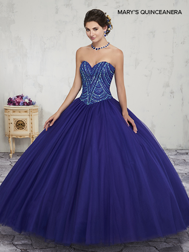 Dark Navy Color Marys Quinceanera Dresses - Style - MQ1010