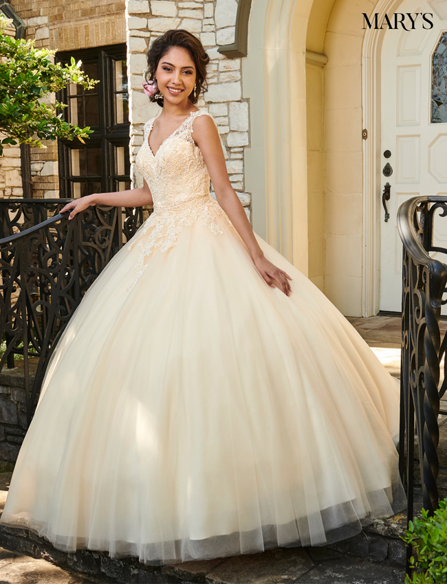 Champagne Color Marys Quinceanera Dresses - Style - MQ1018