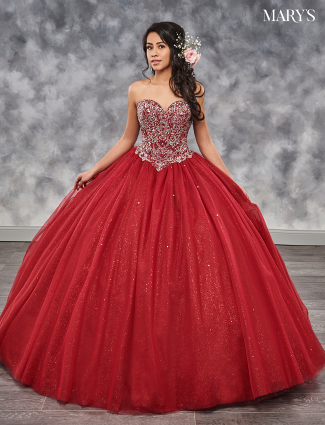 Burgundy Color Marys Quinceanera Dresses - Style - MQ1023