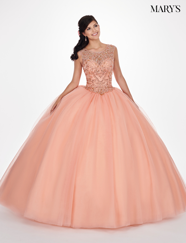 Peach Color Marys Quinceanera Dresses - Style - MQ1041