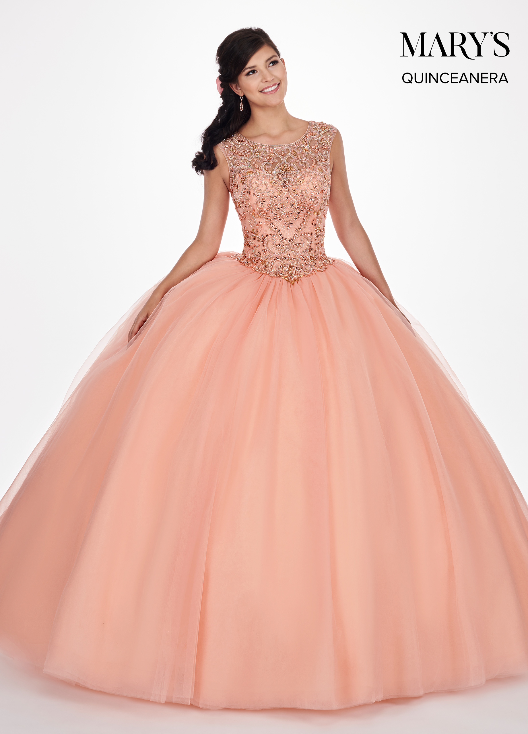 Marys Quinceanera Dresses Style Mq1041 In Peach Or