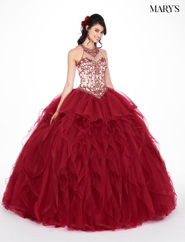 Marsala Color Marys Quinceanera Dresses - Style - MQ1042