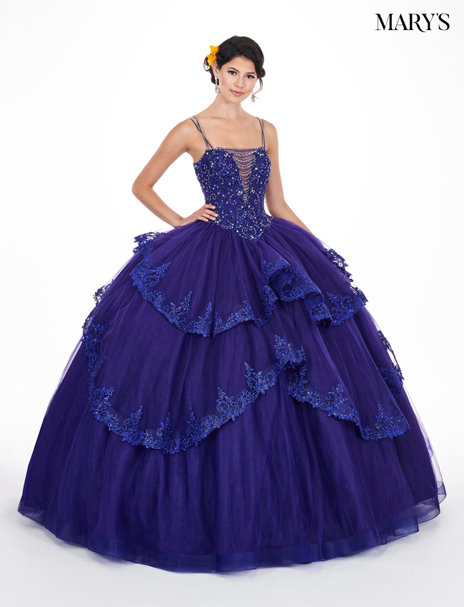 Indigo Color Marys Quinceanera Dresses - Style - MQ1043