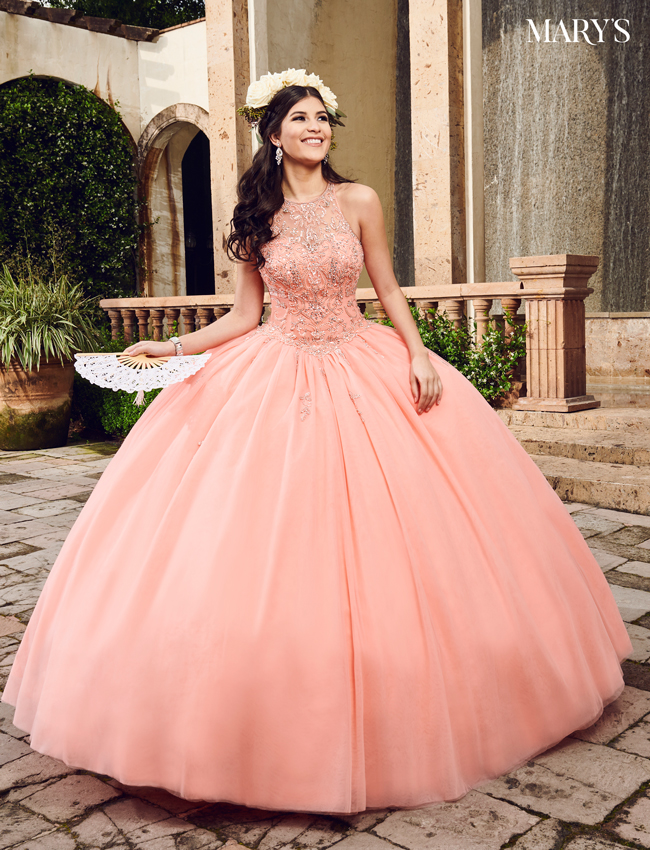 Coral Color Marys Quinceanera Dresses - Style - MQ1051