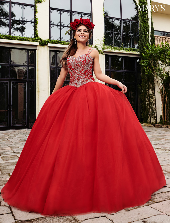 Red Color Marys Quinceanera Dresses - Style - MQ1055