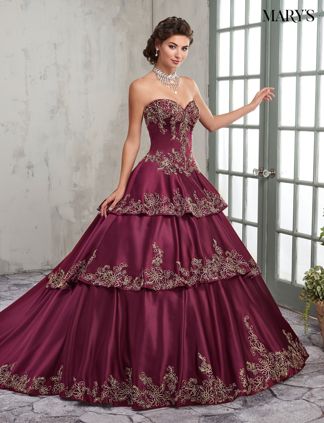 Dark Burgundy Color Marys Quinceanera Dresses - Style - MQ2001