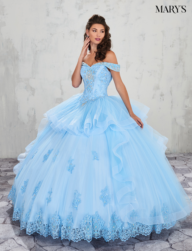 Light Blue Color Marys Quinceanera Dresses - Style - MQ2002