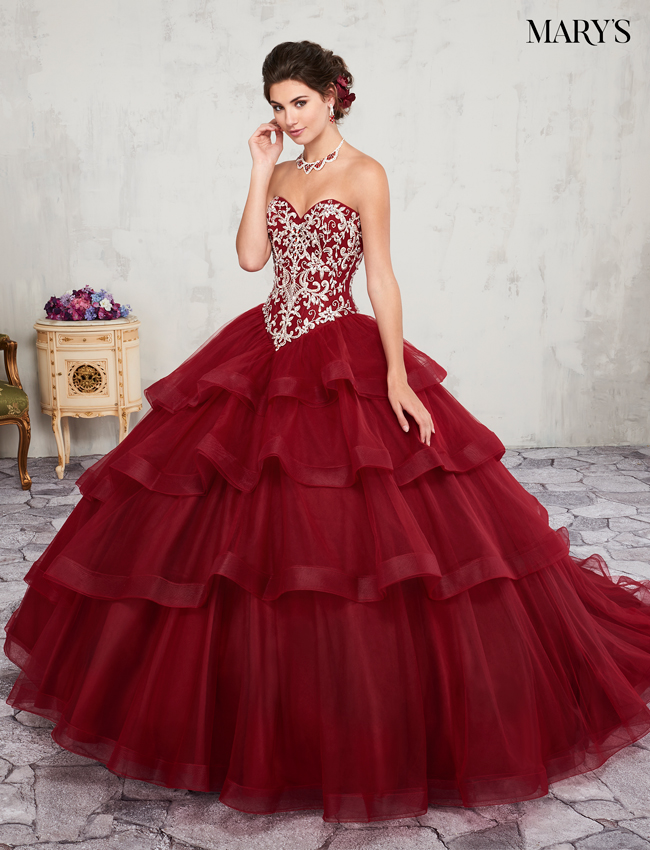 Dark Red Color Marys Quinceanera Dresses - Style - MQ2004