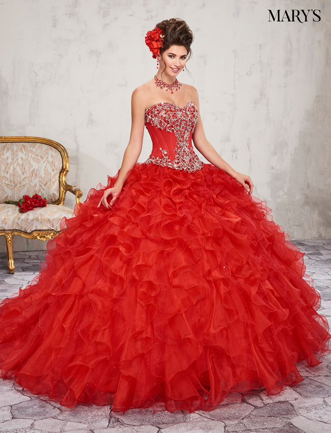 Bright Red Color Marys Quinceanera Dresses - Style - MQ2006
