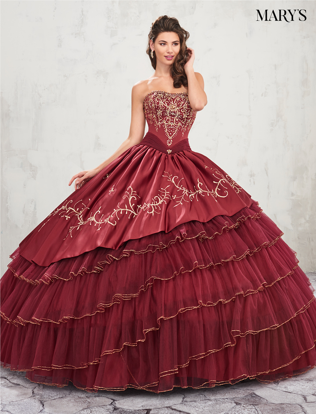 Dark Burgundy Color Marys Quinceanera Dresses - Style - MQ2007