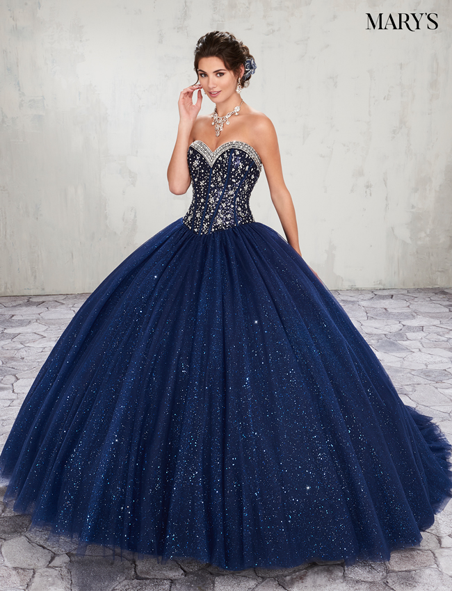 Dark Navy Color Marys Quinceanera Dresses - Style - MQ2010