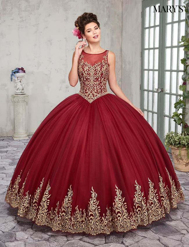 Dark Red Color Marys Quinceanera Dresses - Style - MQ2012