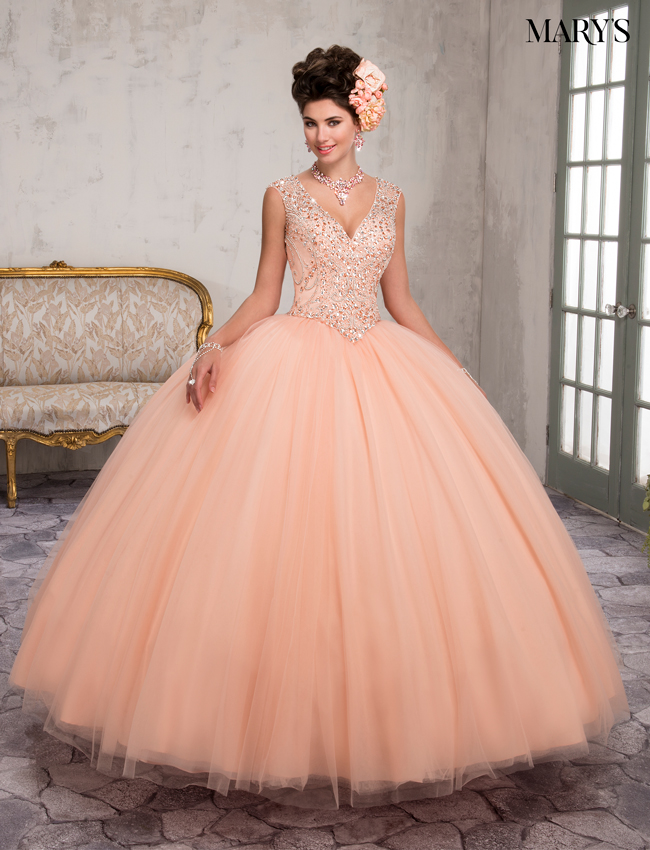 Peach Color Marys Quinceanera Dresses - Style - MQ2016