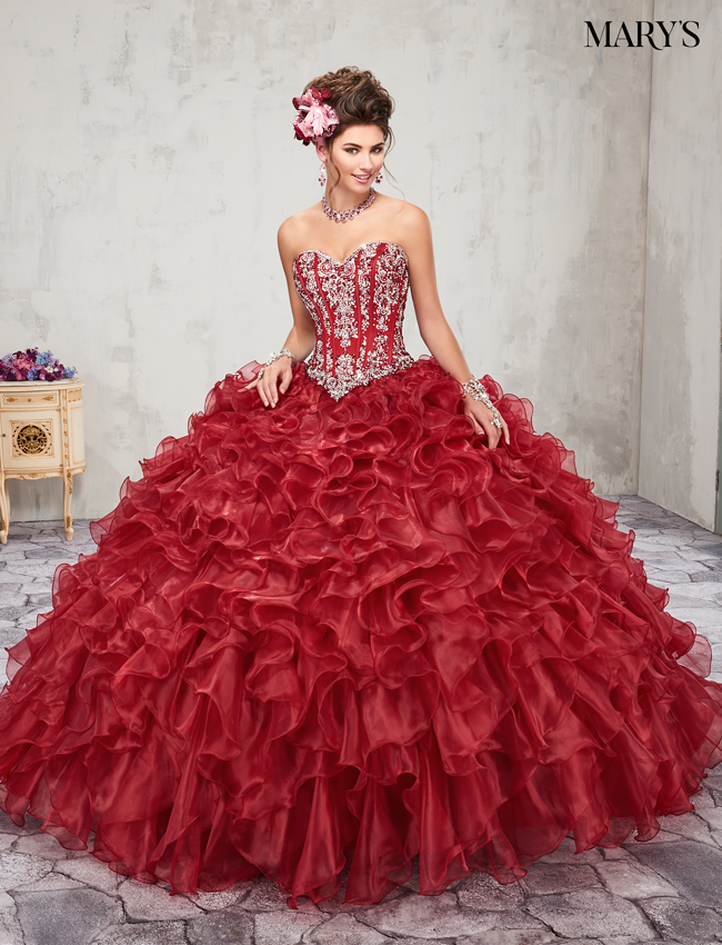 Dark Red Color Marys Quinceanera Dresses - Style - MQ2017