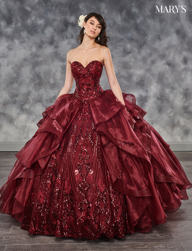 Marsala Color Marys Quinceanera Dresses - Style - MQ2028