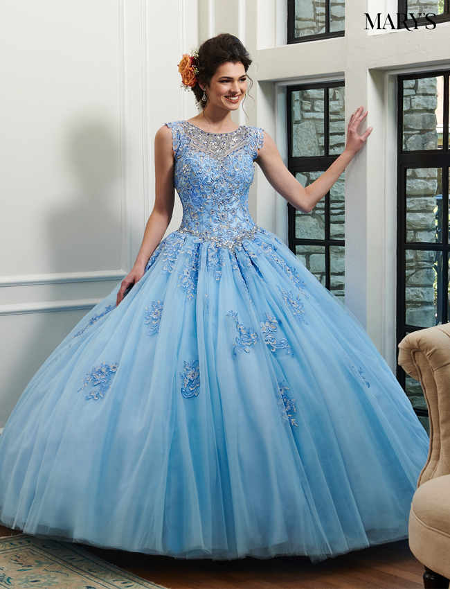 Baby Blue Color Marys Quinceanera Dresses - Style - MQ2029
