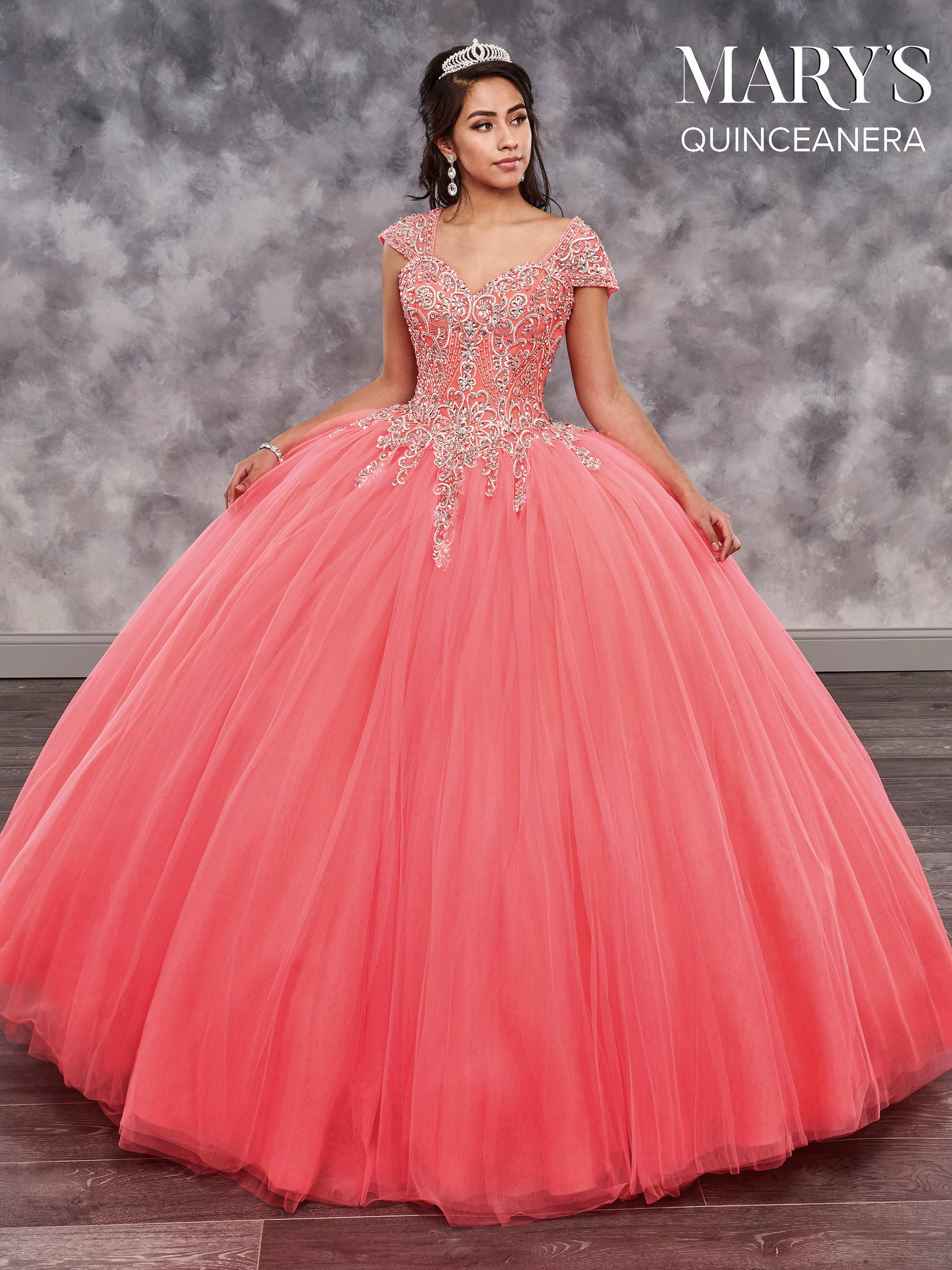 Marys Quinceanera Dresses Style Mq2031 In Hot Coral