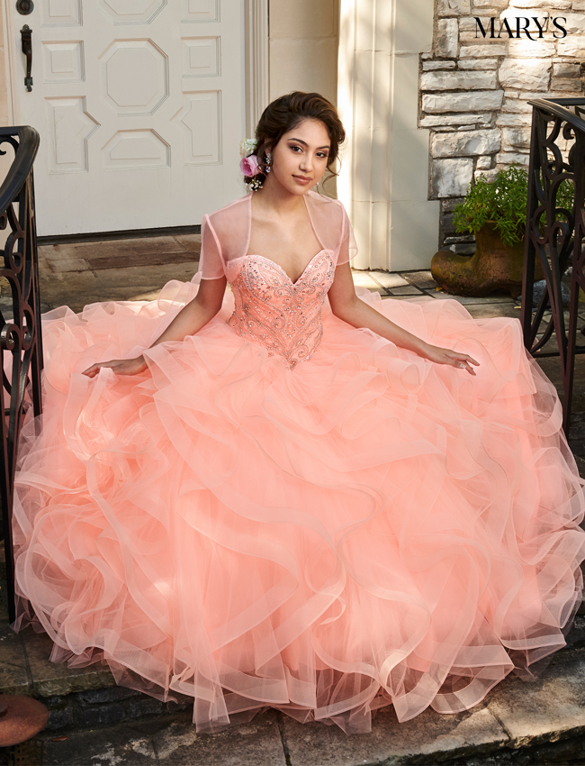 Bright Peach Color Marys Quinceanera Dresses - Style - MQ2032