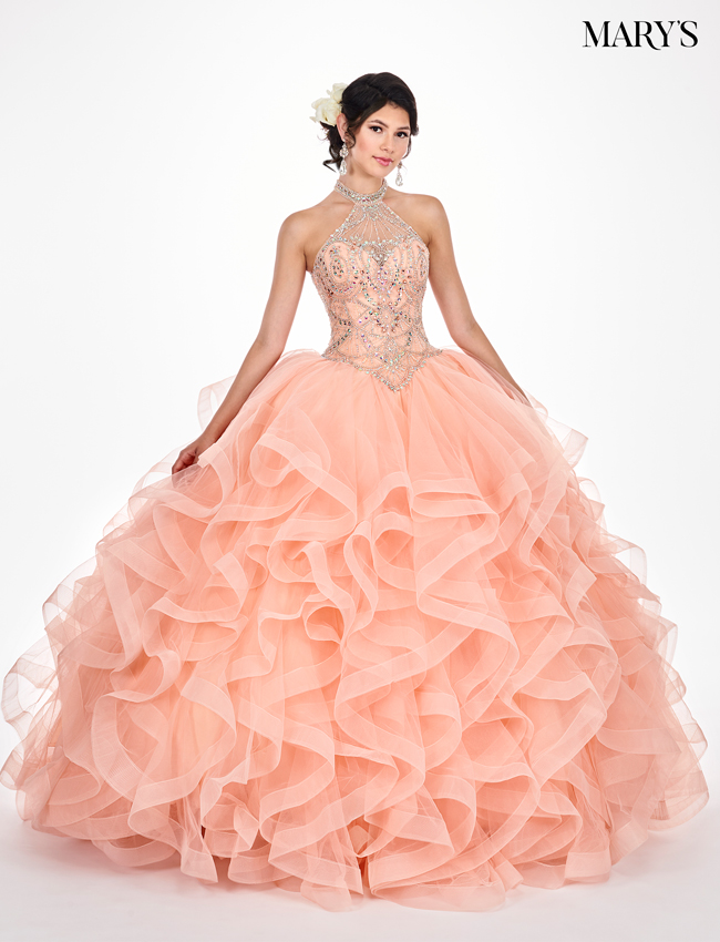 Peach Color Marys Quinceanera Dresses - Style - MQ2049