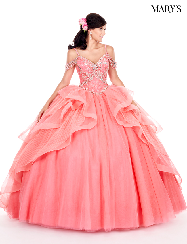 Watermelon Color Marys Quinceanera Dresses - Style - MQ2053