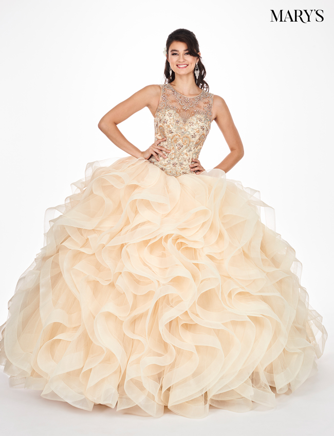 be62bf55908 Champagne Color Marys Quinceanera Dresses - Style - MQ2054