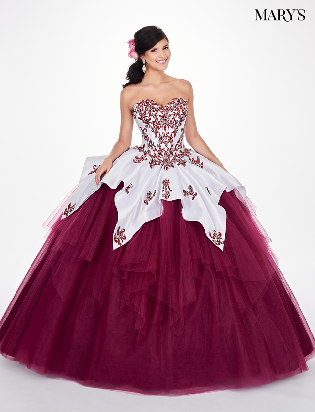 Merlot Color Marys Quinceanera Dresses - Style - MQ2056