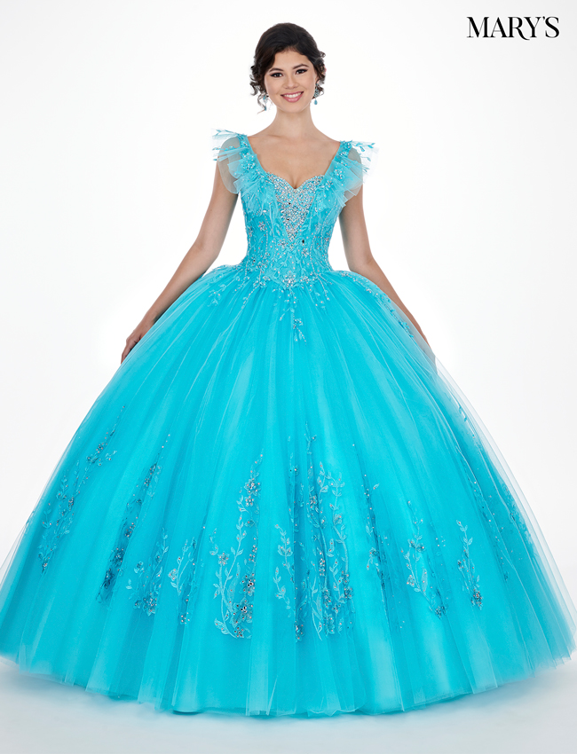 Soft Turquoise Color Marys Quinceanera Dresses - Style - MQ2064