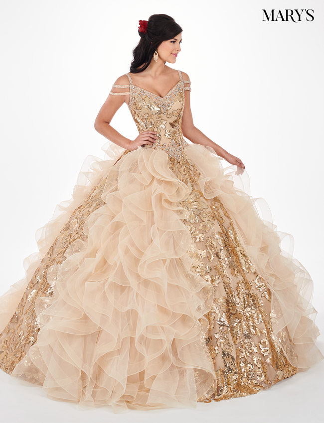 Gold Color Lareina Quinceanera Dresses - Style - MQ2065