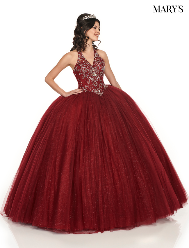 Dark Burgundy Color Marys Quinceanera Dresses - Style - MQ2074