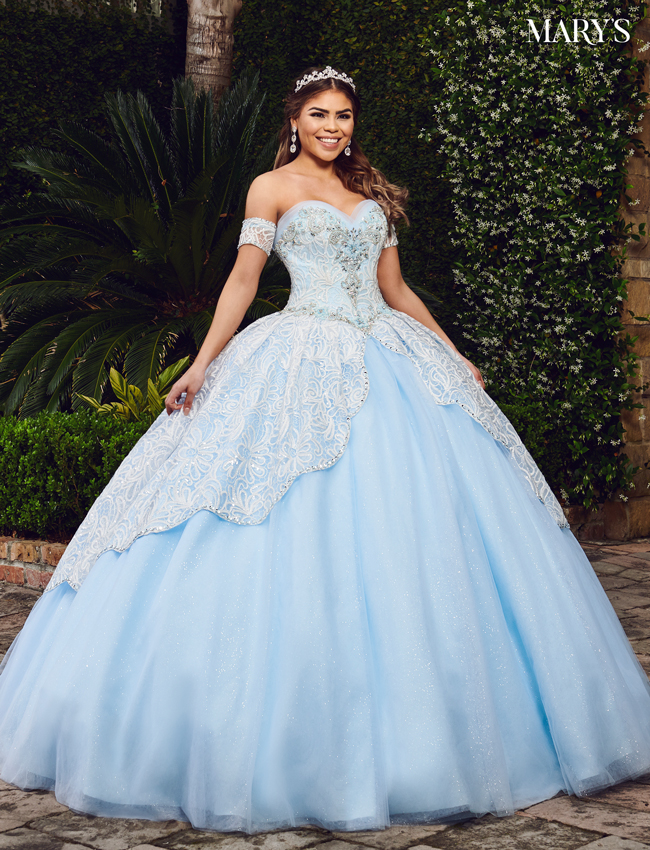 Baby Blue Color Marys Quinceanera Dresses - Style - MQ2075