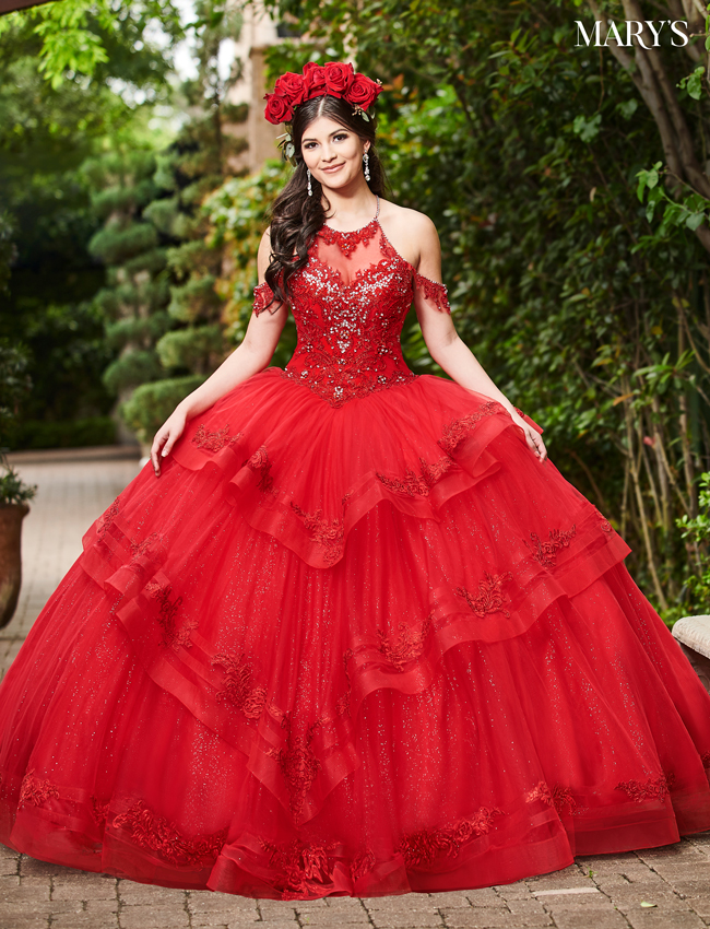 Red Color Marys Quinceanera Dresses - Style - MQ2077