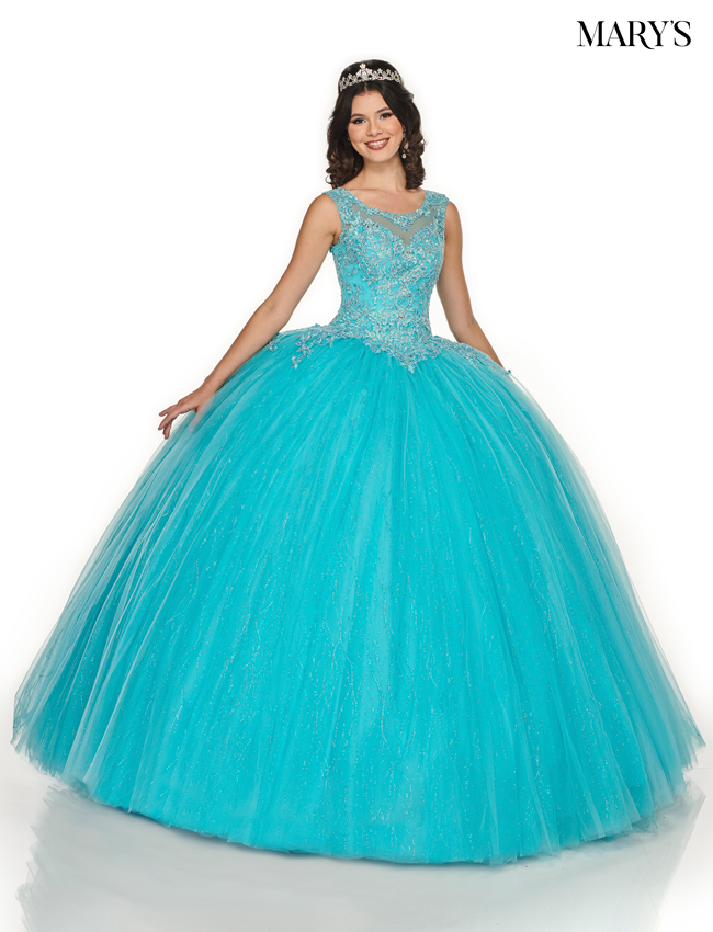 Soft Turquoise Color Marys Quinceanera Dresses - Style - MQ2080