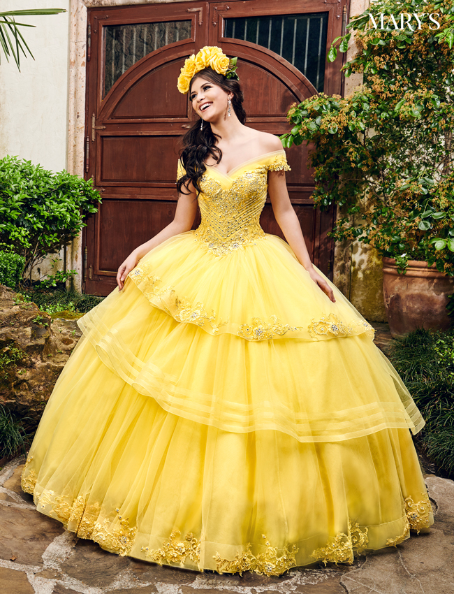 Yellow Color Marys Quinceanera Dresses - Style - MQ2085