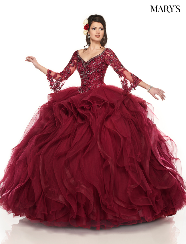 Burgundy Color Marys Quinceanera Dresses - Style - MQ2087